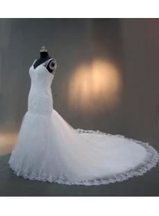 Beautiful Deep V-neck Bridal Gowns with Cathedral Train IMG_2947