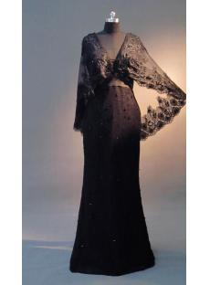Black Lace Mother of Groom Dress with Cape IMG_3449