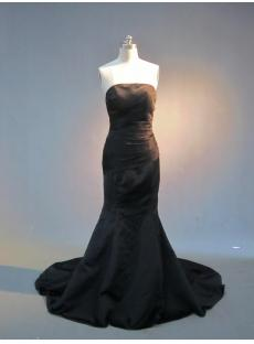 Black Straples Trumpet Long Prom Dress with Train IMG_3910