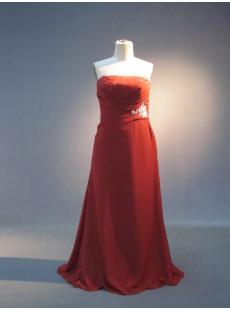 Burnt Orange Strapless Modest Bridesmaid Dress IMG_3626