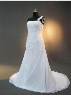 Casual One Shoulder Beach Bridal Gowns IMG_3109