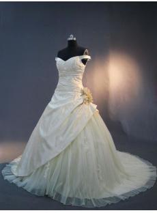 Champagne Off Shoulder Princess Bridal Gown 2013 IMG_3228