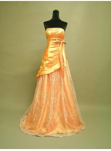 Cheap Orange Strapless Prom Dress 3062