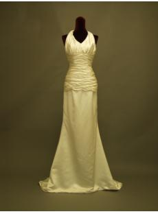 Column Simple Halter Beach Wedding Dress in Cheap 234