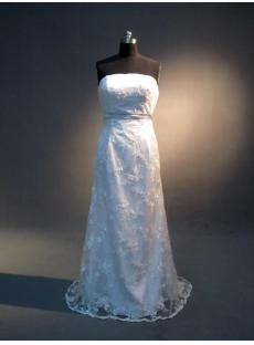 Corset Simple Column Lace Bridal Gown for Beach Wedding IMG_4043