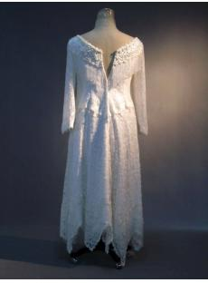Country Fringe Western Wedding Gowns with Long Sleeves IMG_3424