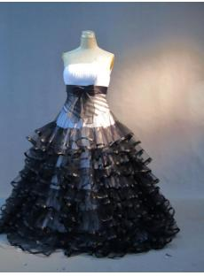Drop Waist White and Black Quinceanera Dresses IMG_3369