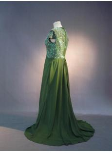 Green Beaded Plus Size Mother of Bride Dress with Cap Sleeves IMG_3810