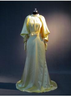 High Collar Lemon Long Sleeves Special 2013 Evening Dress with Keyhole IMG_3668