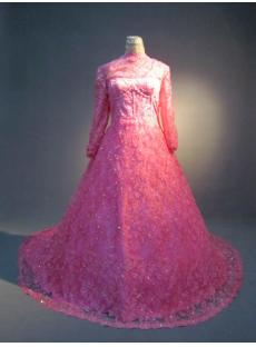 Hot Pink High Neckline Lace Plus Size Bridal Gown IMG_3768