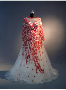 Illusion Neckline Red and Ivory Long Sleeves Bridal Gown IMG_3976