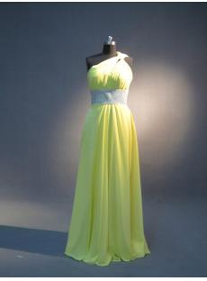 Lemon Yellow One Shoulder Long Graduation Dress with Keyhole IMG_3954