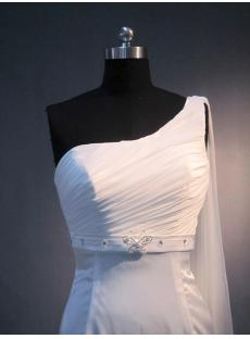 One Shoulder Mature Bridal Gowns with Sash IMG_3690