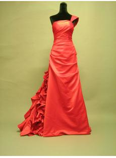 One Shoulder Red Brilliant Celebrity Dress with Ruffled Train 2686