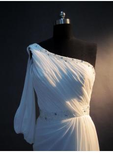 One Sleeves Beach Wedding Dress with Corset IMG_3332