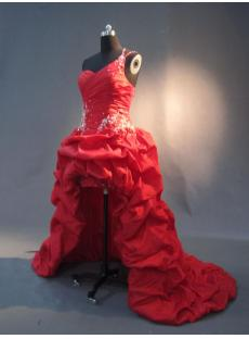 One shoulder Red High Low Hemline Prom Dresses IMG_2966