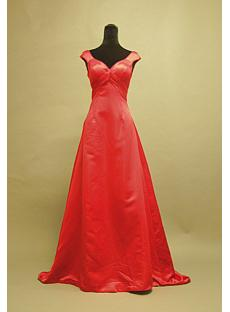 Red Simple Cheap Evening Dresses with Train 3052