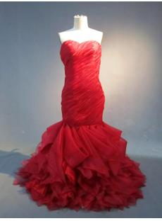 Romantic Red Mermaid Organza Wedding Dress IMG_3889