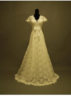 Short Lace Wedding Dress with Sleeves-Vintage Inspired