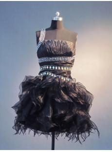 Short Ruffle Open Back Black Sweet 16 Dresses IMG_4026