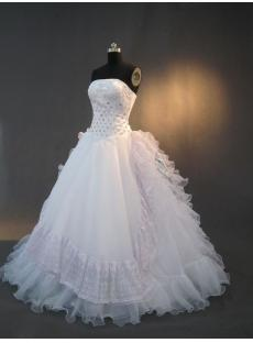 Strapless White Ruffle 15 Quinceanera Dresses IMG_3278