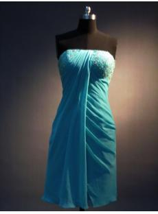 Teal Blue Empire Cocktail Prom Dress IMG_3427