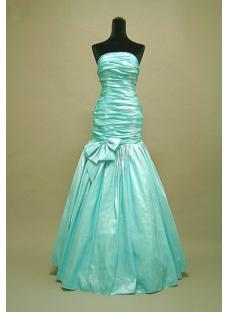 Teal Blue Junior Prom Dress Strapless 3055