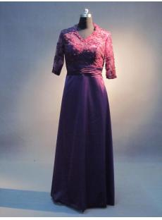 V-neckline Purple Lace Plus Size Formal Mother of Bride Dress IMG_3522
