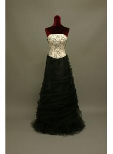 White and Black Column Vintage Evening Dress IMG_6831