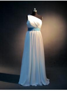 White and Blue One Shoulder Inexpensive Bridesmaid Dress IMG_4009