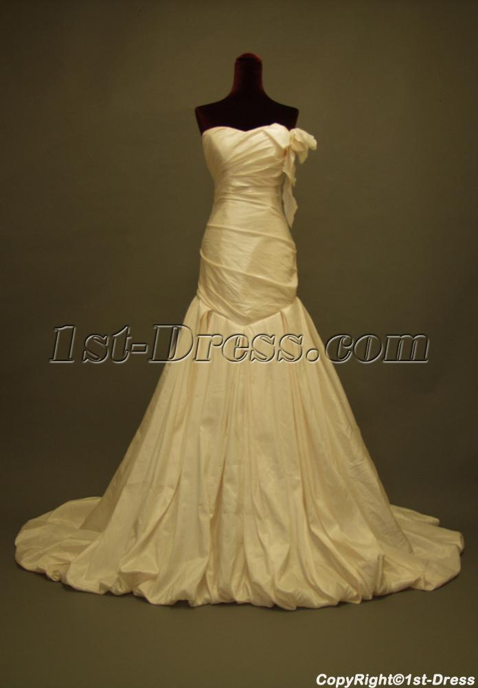 Cheap champagne slim mermaid bridal gowns img 227 1st for Cheap champagne wedding dresses