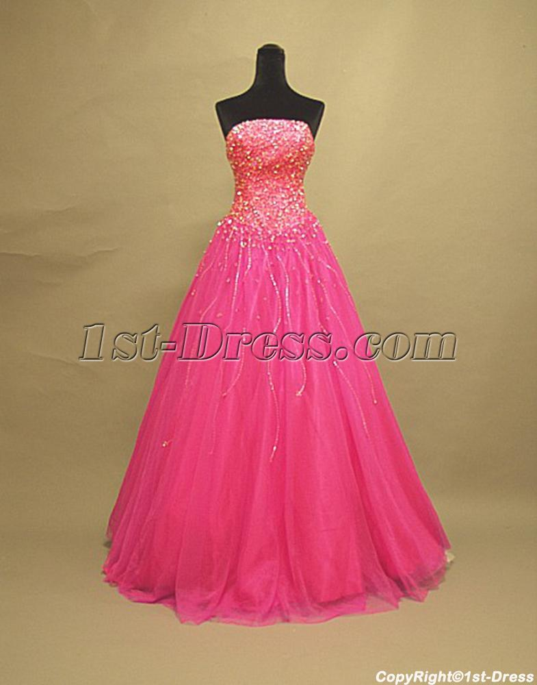 Beaded Luxurious Hot Pink Sweet 16 Dresses 3072 1st Dress Com