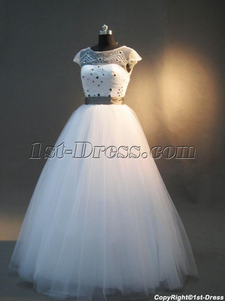Beaded Modest Princess Quinceanera Dresses with Cap Sleeves IMG_2979:1st-dress.com