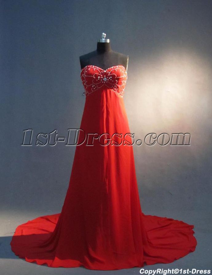 Beaded Red Empire Pregnancy Prom Dresses IMG_3342:1st-dress.com
