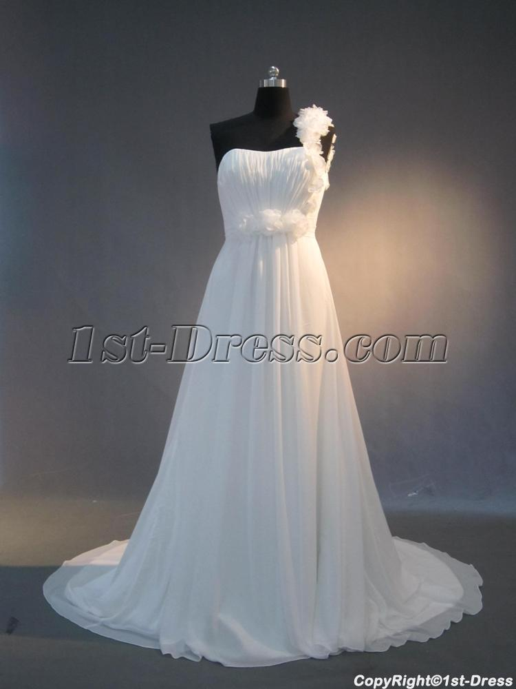 Cheap one shoulder chiffon casual wedding dresses for for Wedding dress for casual wedding
