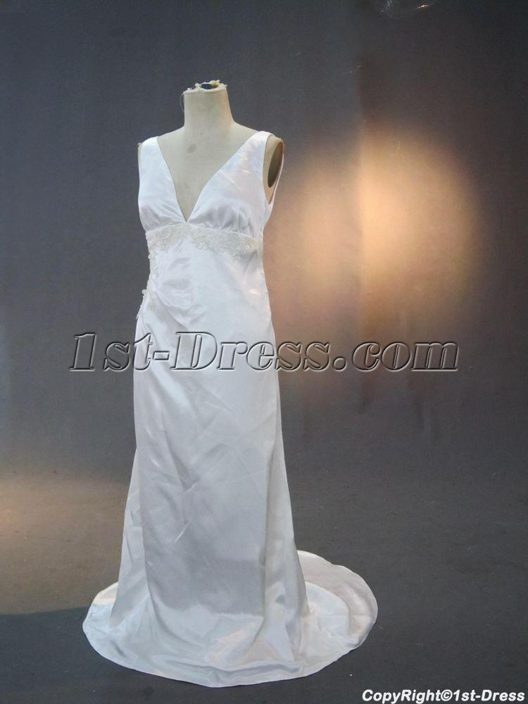 Cheap simple column plus size bridal dress img 3262 1st for Cheap simple plus size wedding dresses