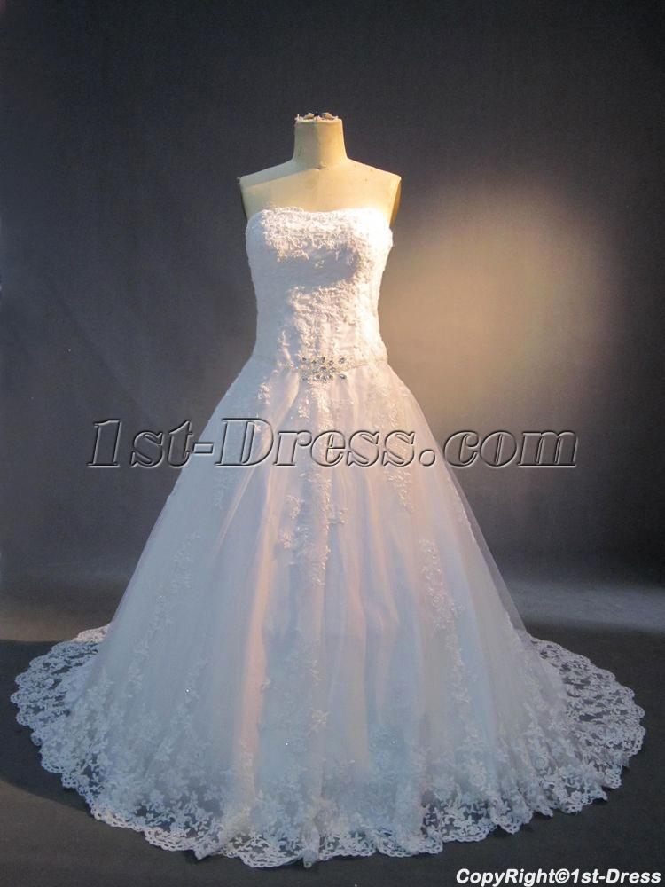 Classic Lace Plus Size Bridal Gown with Jacket IMG_3722:1st-dress.com