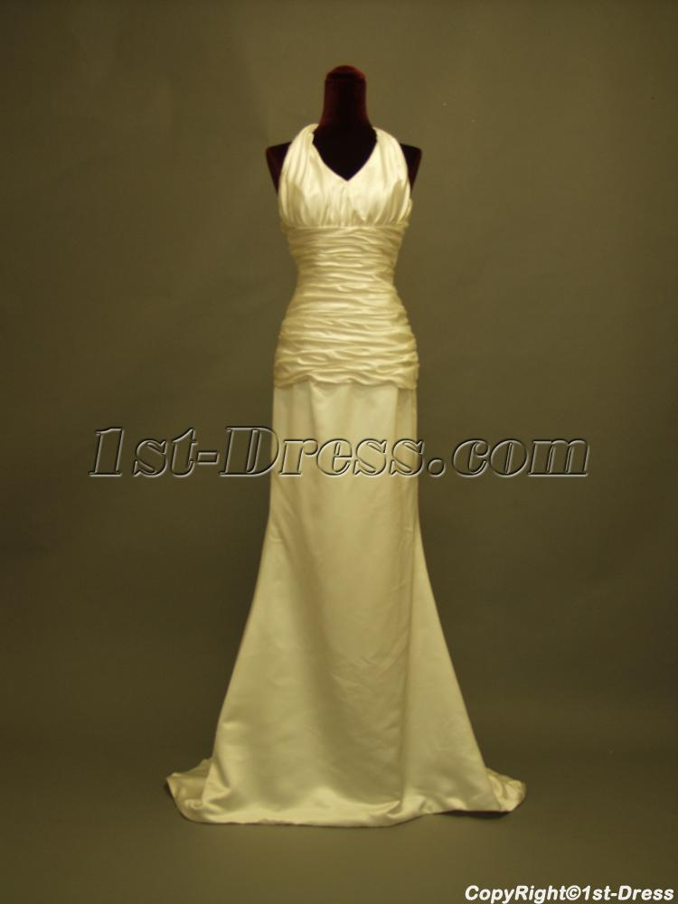 Column Simple Halter Beach Wedding Dress In Cheap 234 1st