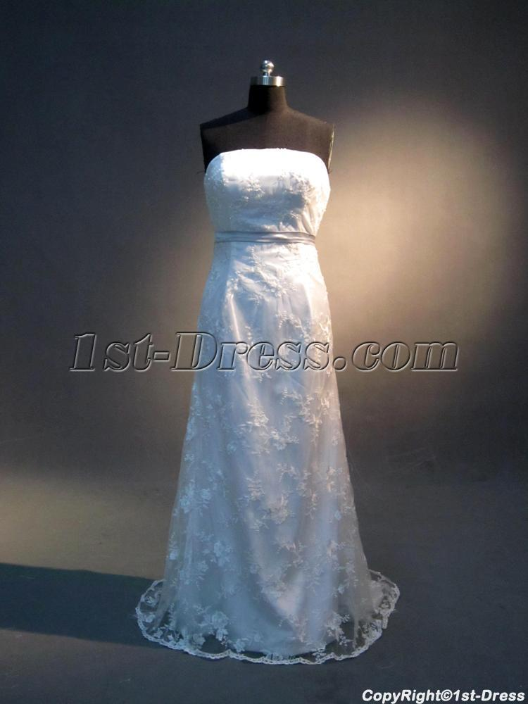 Corset simple column lace bridal gown for beach wedding for Simple corset wedding dresses