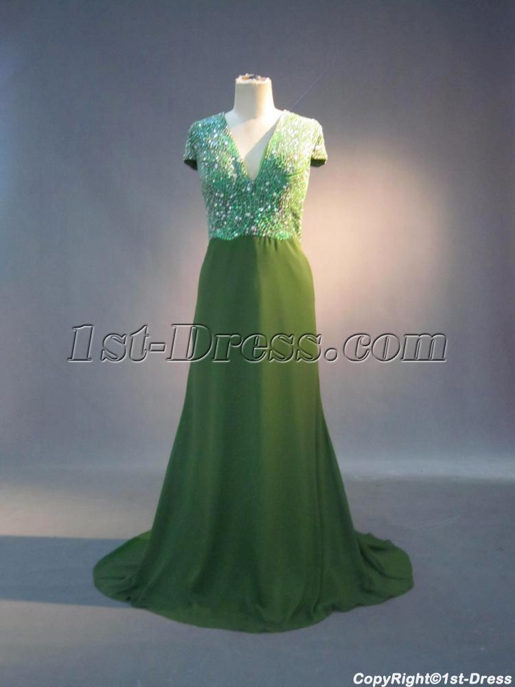 Green Beaded Plus Size Mother Of Bride Dress With Cap Sleeves