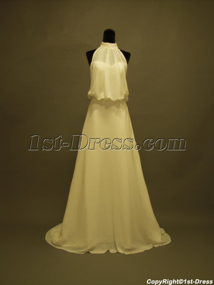Halter Style Wedding Gowns Mature Bride 356:1st-dress.com