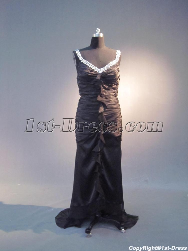 High-low Hem Plus Size Long Black Sheath Prom Dress IMG_3947:1st ...
