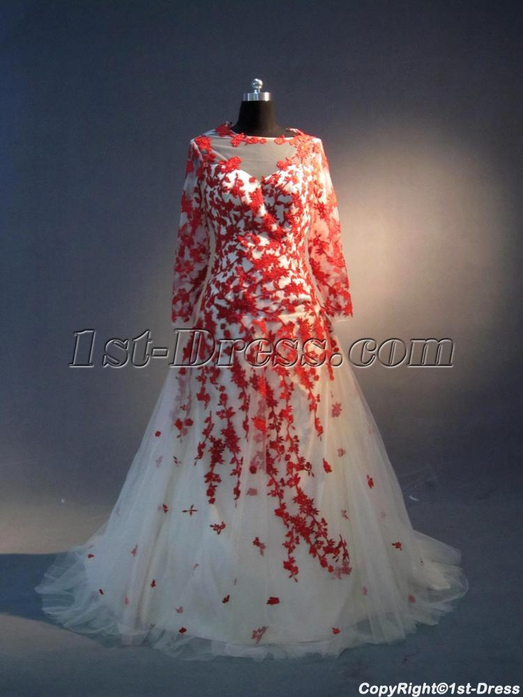 Illusion neckline red and ivory long sleeves bridal gown for Red wedding dresses with sleeves