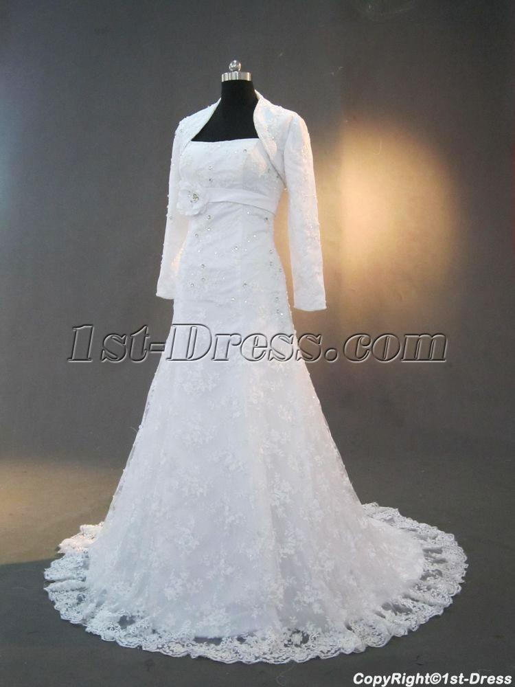Lace bridal gowns with long sleeves jacket img 3286 1st for Wedding dress long sleeve lace jacket