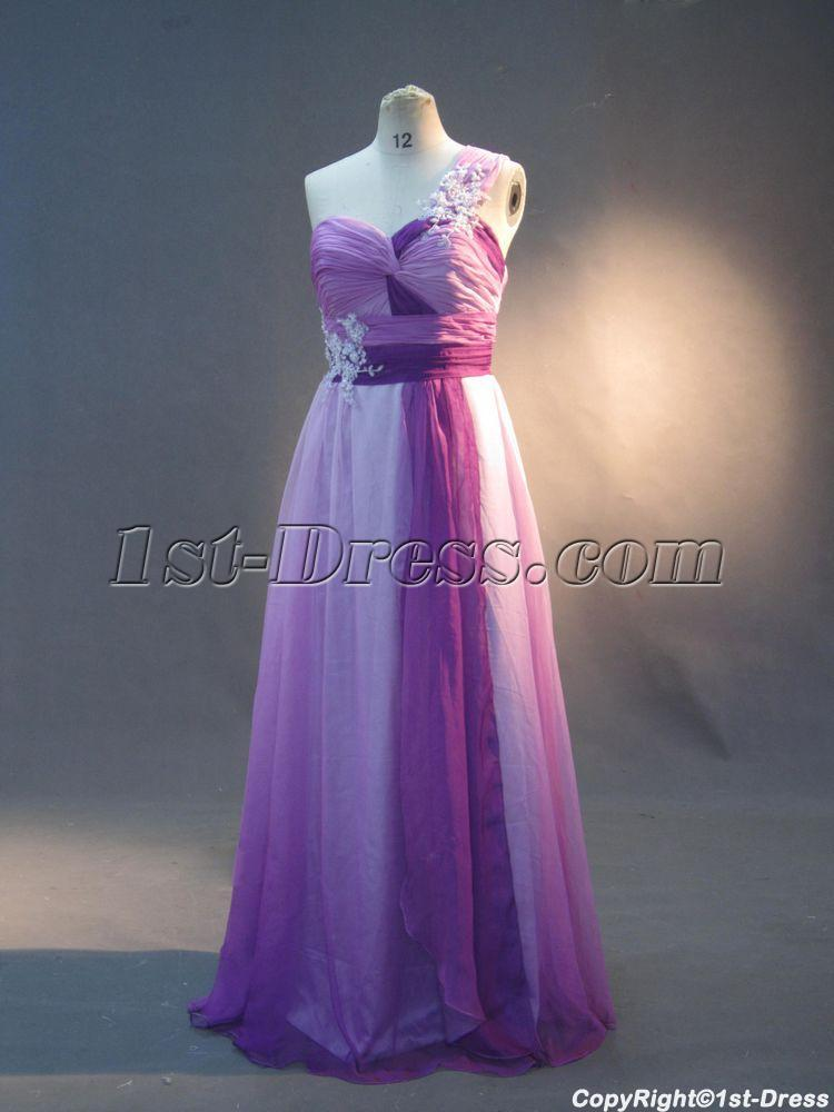 Lilac and Purple Plus Size Prom Dresses One Shoulder IMG_2995 $190.00