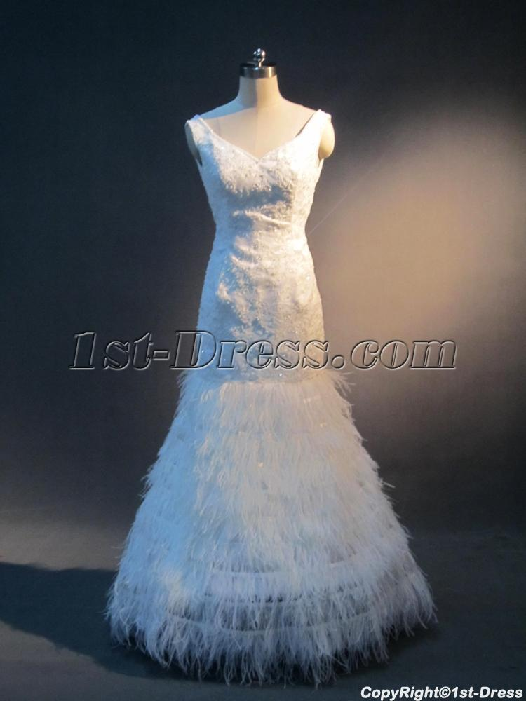 Low Back Sheath Feather Bridal Gown 2012 IMG_4054:1st-dress.com