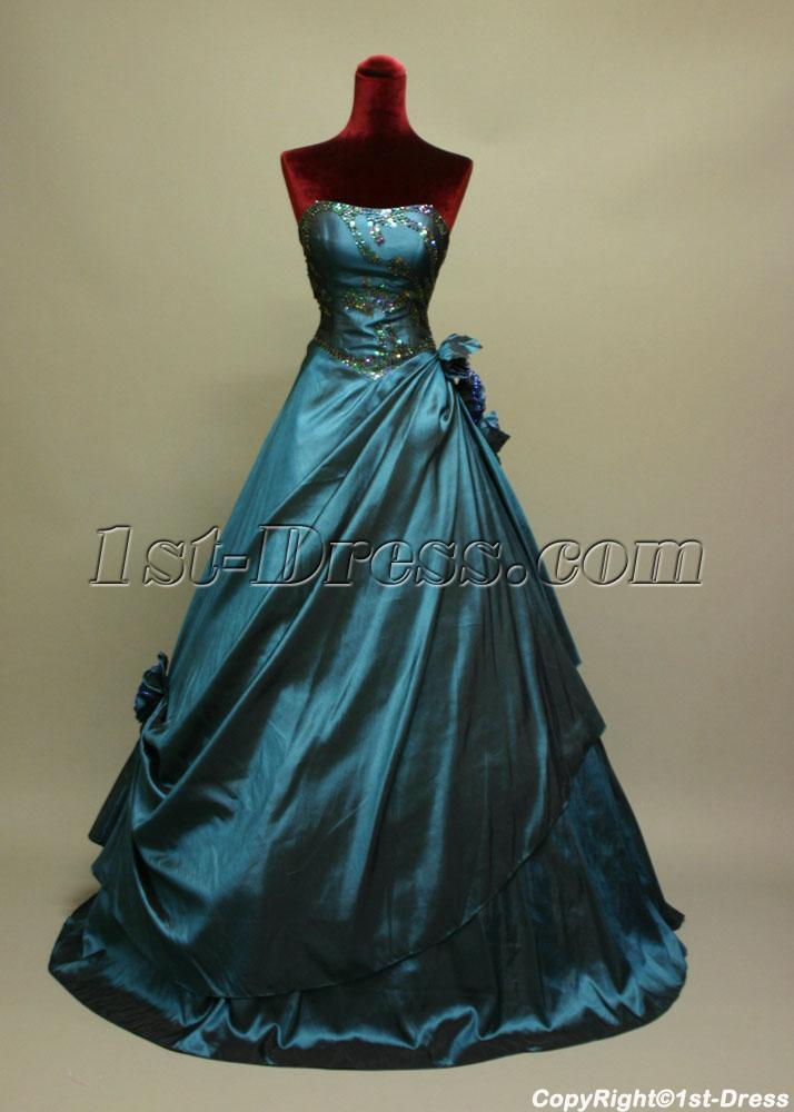 Navy Blue Strapless Masquerade Quinceanera Dresses IMG 67621st Dress