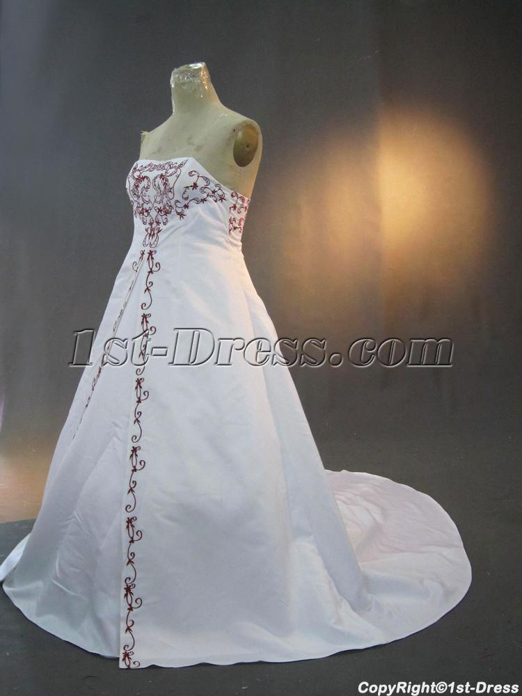 Plus Size Bridal Gown White And Red Embroidery Img32561st Dress