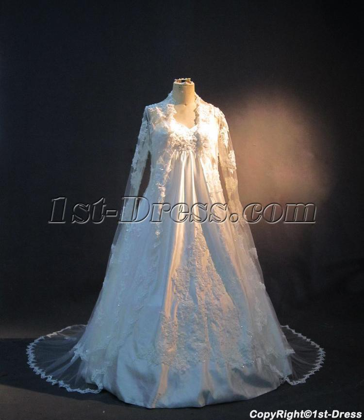 Plus size maternity bridal gown with long sleeves lace for Wedding dress long sleeve lace jacket