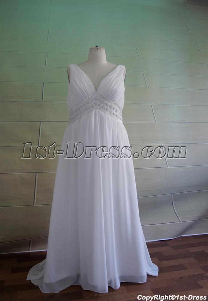 Plus size v neckline maternity wedding dress 5049 1st for Plus size maternity wedding dresses